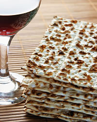 Passover matzah and wine